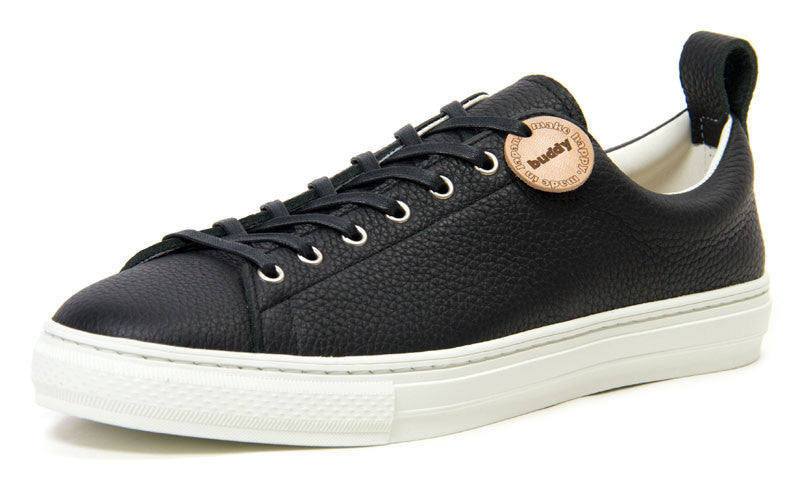 Buddy Bull Terrier Low Chubby Sneaker (Black Grain Leather)