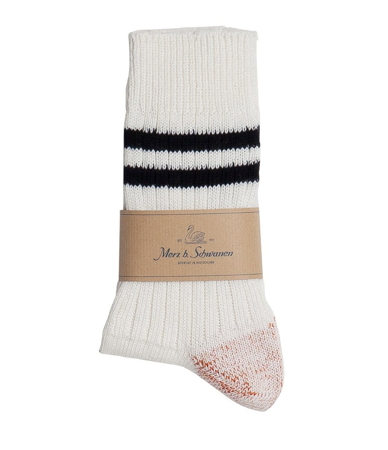 Merz b. Schwanen B75 Stripe Socks (White/Ink)