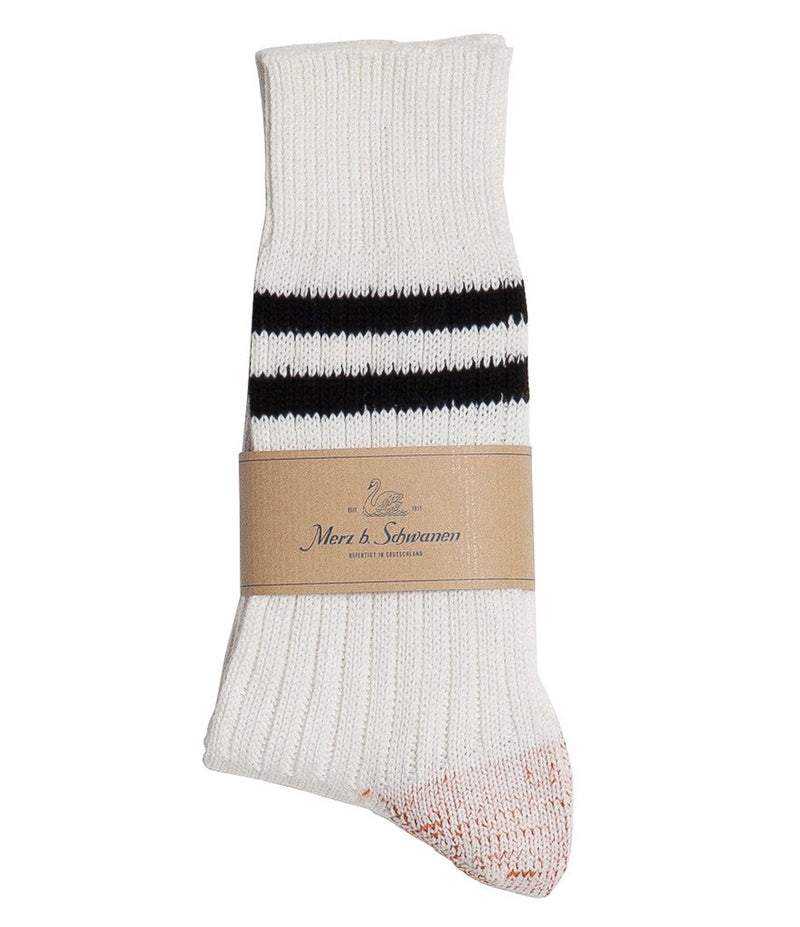 Merz b. Schwanen B75 Stripe Socks (White/Black)