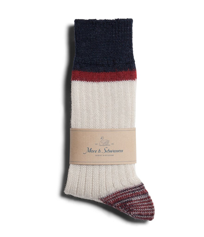 Merz b. Schwanen S73 Retro Sport Wool Striped Socks (Nature/Dark Red)