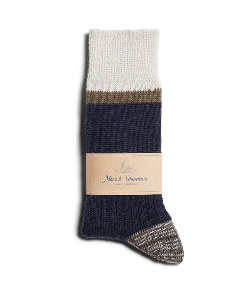 Merz b. Schwanen S73 Retro Sport Wool Striped Socks (Ink Blue/Army)