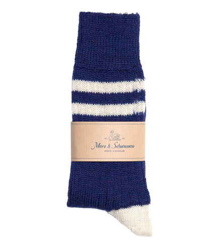 Merz b. Schwanen S75 Organic Wool Striped Socks (Electric Blue/Nature)