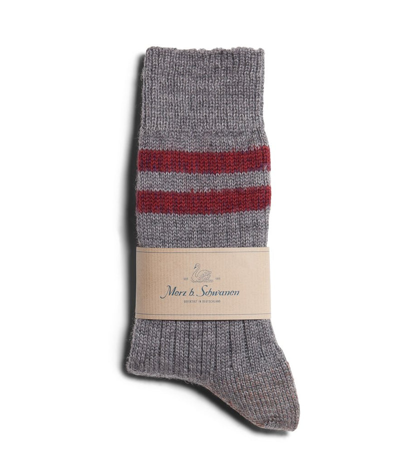 Merz b. Schwanen S75 Organic Wool Striped Socks (Grey Melange/Dark Red)
