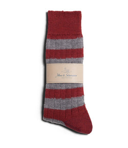 Merz b. Schwanen S76 Organic Wool Striped Socks (Dark Red/Grey Melange)