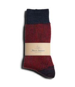 Merz b. Schwanen S77 Fine Ripped Wool Striped Sock (Ink Blue/Dark Red)