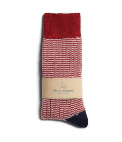 Merz b. Schwanen S78 Fine Striped Wool Sock (Dark Red/Nature)