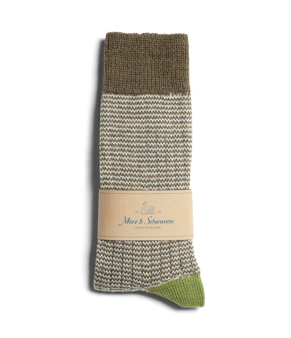 Merz b. Schwanen S78 Fine Striped Wool Sock (Army/Nature)