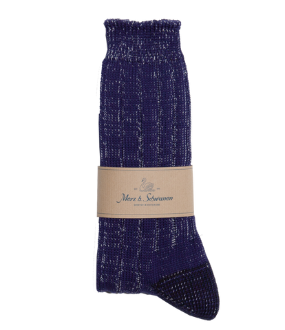 Merz b. Schwanen W72 Merino Wool Socks (Electric Blue/Nature Melange)