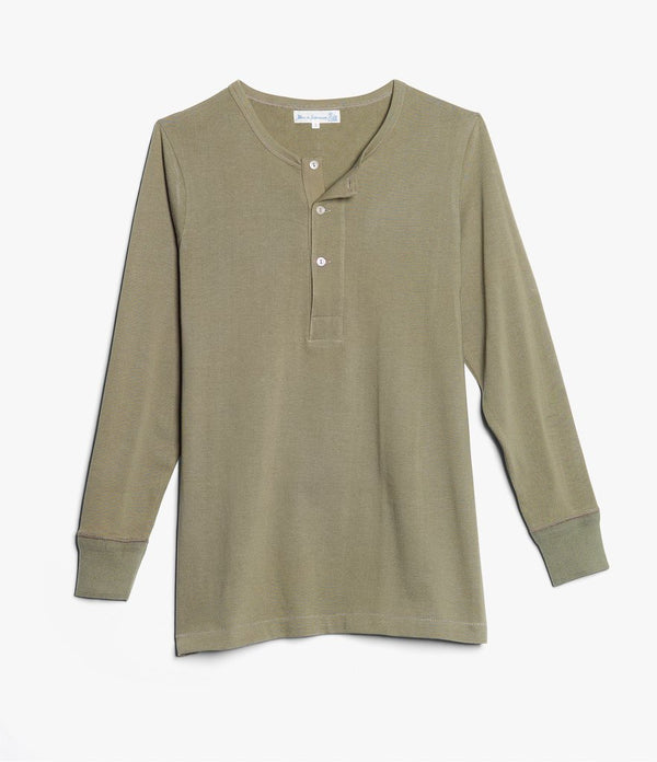 Merz b. Schwanen 206 Long Sleeve Henley (Army Green)