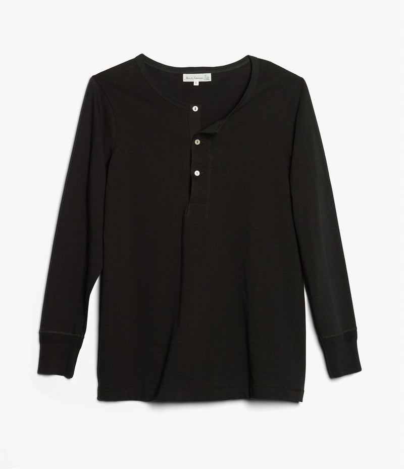 Merz b. Schwanen 206 Long Sleeve Henley (Deep Black)