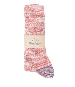 Merz b. Schwanen 271 Cotton Socks (Red/Nature Melange)