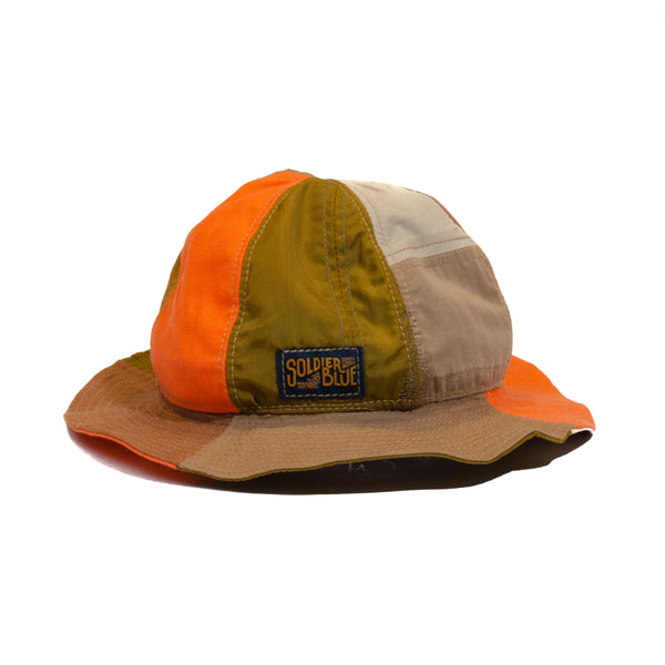 Soldier Blue Daisy Mae Hat (Orange Patchwork)
