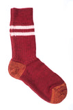 Merz b. Schwanen S75 Organic Wool Striped Socks (Dark Red)
