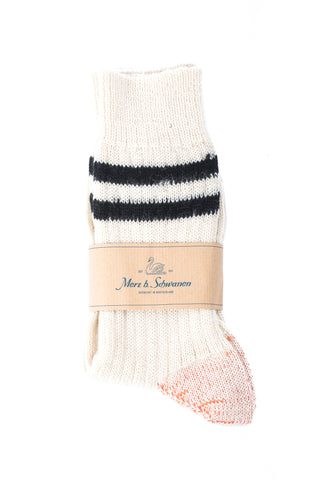 Merz b. Schwanen S75 Organic Wool Striped Socks (Nature/Black)
