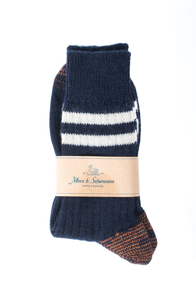 Merz b. Schwanen S75 Organic Wool Striped Socks (Dark Navy)