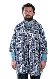 Mighty Mac Poncho Printed Jacket Navy/White