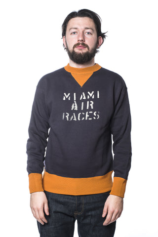 Heller's Cafe HC-M65 Miami Air Races Sweatshirt Dark Navy/Orange