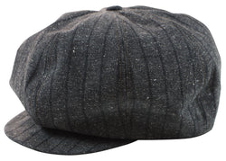 Freewheelers 2027002 1920s Style Flat Cap (Grained Grey Black)