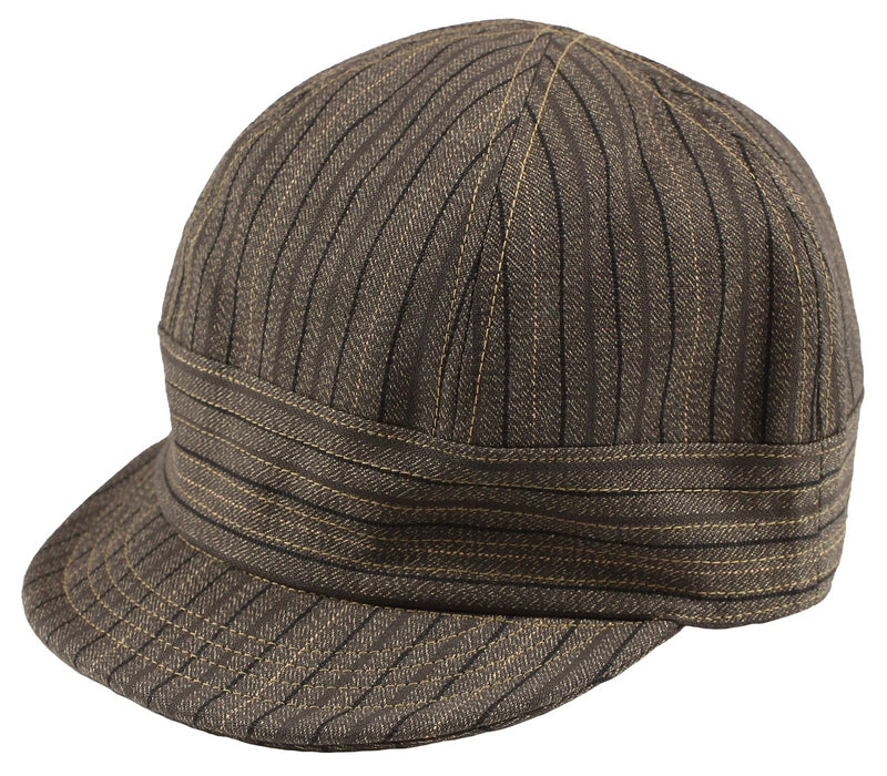 Freewheelers 2027001 'Guthrie' Flat Cap (Grained Brown Stripe)