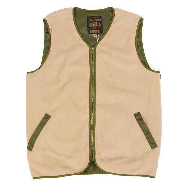 Full Count 2916 Fleeced Full Zip Vest (Beige)