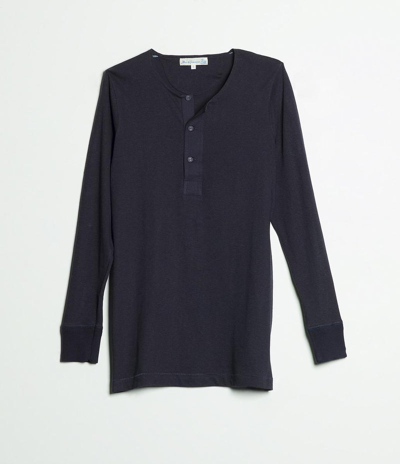Merz b. Schwanen 102 Button Border Shirt (Dark Navy)