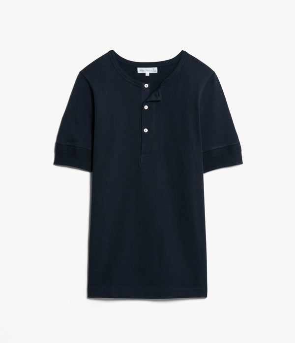 Merz b. Schwanen 207 Short Sleeve Henley (Night Blue)