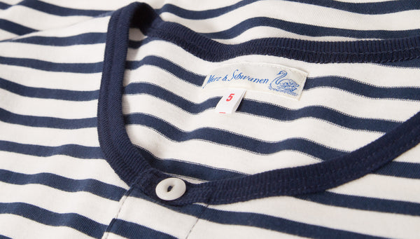 Merz b. Schwanen 2M07 Short Sleeve Stripe Henley (Ink Blue/Nature)