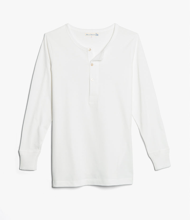 Merz b. Schwanen 206 Long Sleeve Henley (White)