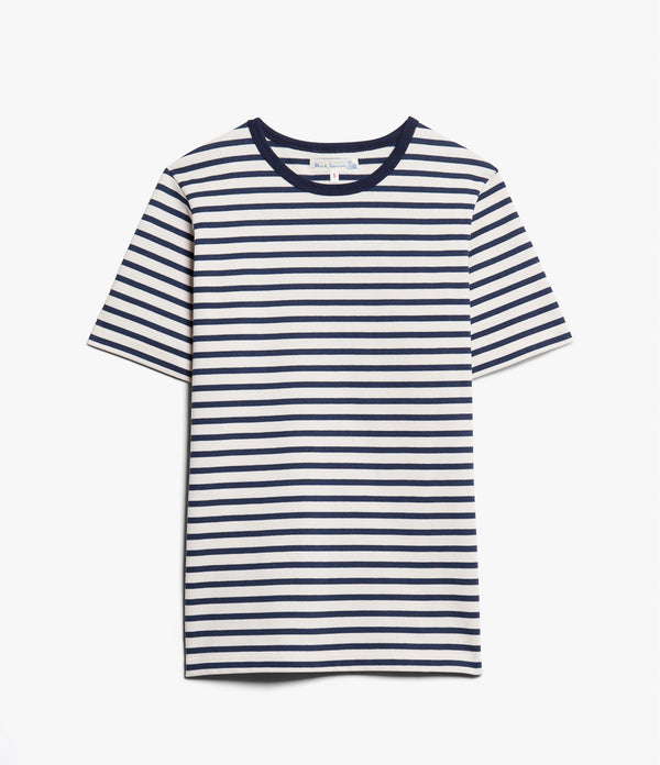Merz b. Schwanen 2M15 Classic Crew Neck Stripe Tee (Ink Blue/Nature)