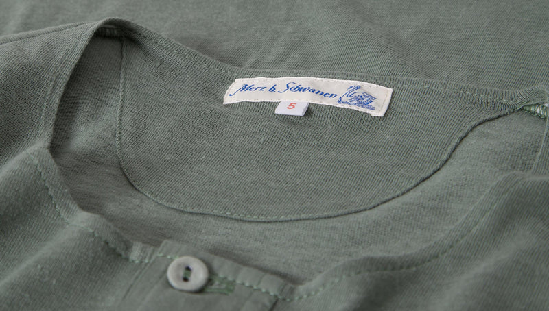 Merz b. Schwanen 102 Button Border Shirt (Light Army)