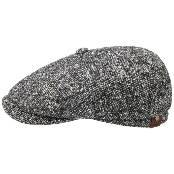 Stetson 6840601-433 Hatteras Donegal Tweed Flat Cap (Black/Grey)