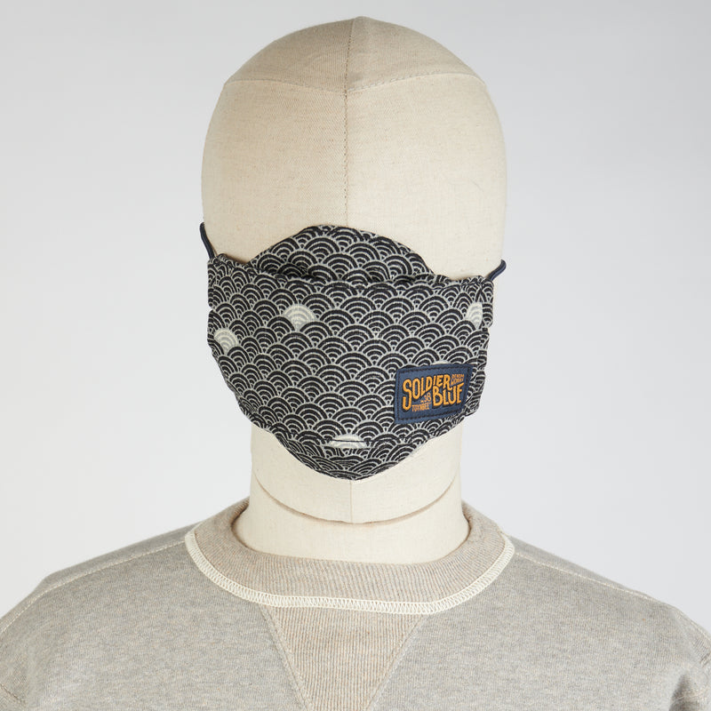 Soldier Blue Origami Face Mask (Akita Wave)