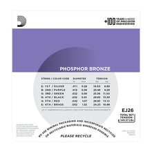 Load image into Gallery viewer, D'Addario EJ26 Phosphor Bronze Custom Light Acoustic Guitar Strings