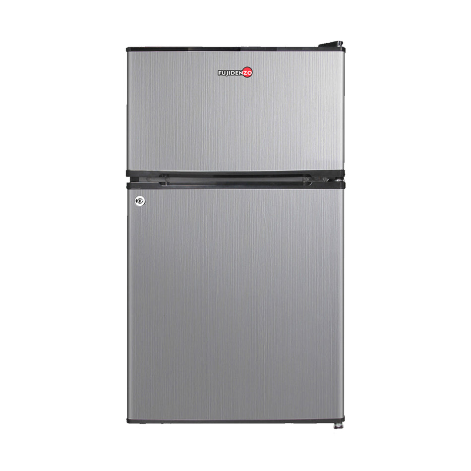 Fujidenzo Refrigerator Personal 3.5 cu.ft Two-Door Stainless Look with key lock - RBT-35 SL