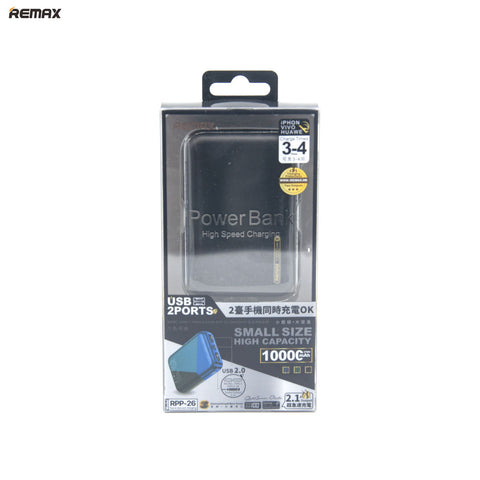Remax Power Bank Hi-speed Charging 1000C mAh- RPP-26 Black