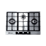 Tecnogas Built-in Hob 75cm Stainless Steel, 3 Gas Burners, One Hand Elec. Ignition - TBH-7530CSS