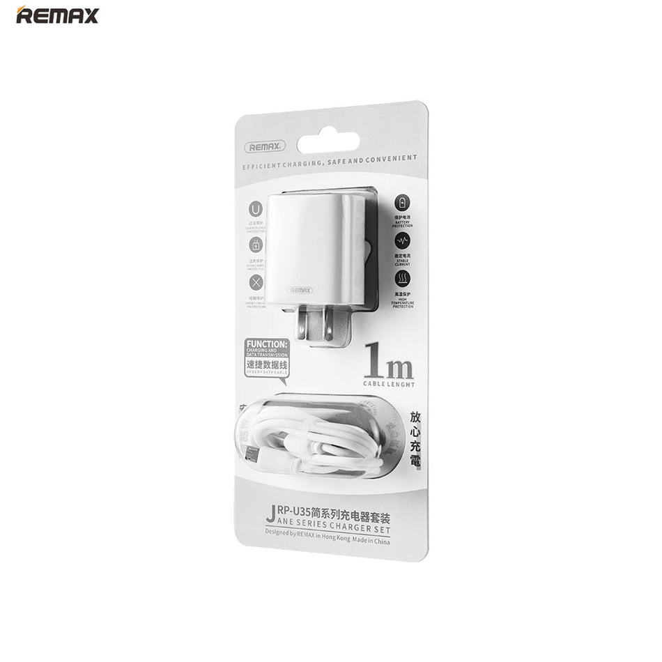 Remax Jane Series 2U Charging US Set for Micro - RP-U35 White