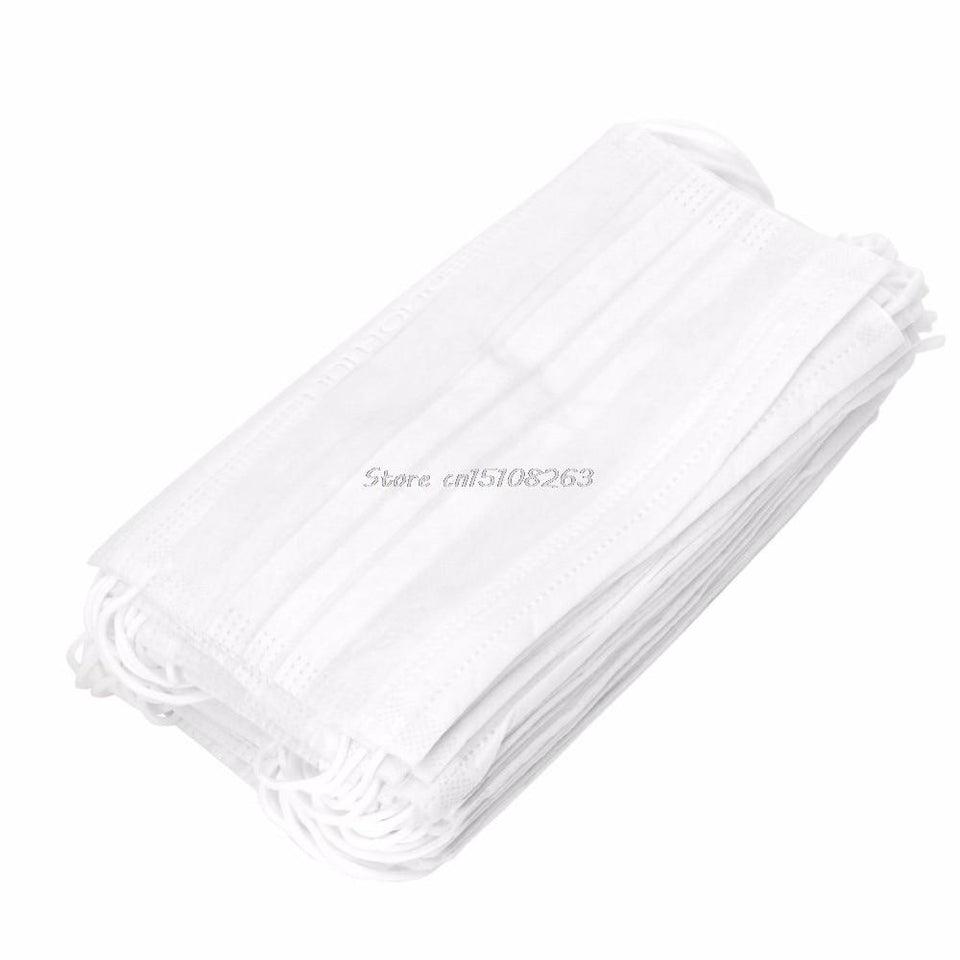 50Pcs Elastic Ear Loop Disposable Medical Dustproof Surgical Face Mouth Masks3-Ply #Y207E#Sale