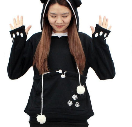 Women's Mewgaroo pet holder hoodie  Cat Eared Pouch Sweatshirt