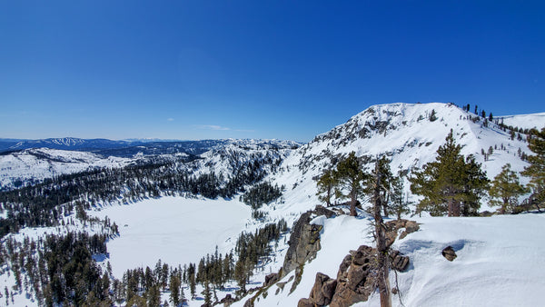 Awesome backcountry terrain at Frog Lake Cliff just above Tahoe's newest backcountry lodge options, the Frog Lake Huts