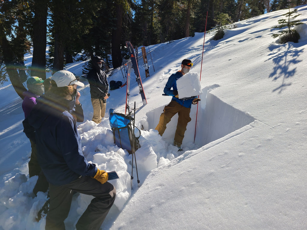 Students observing a snowpack test during an AIARE Avalanche Course in Lake Tahoe.