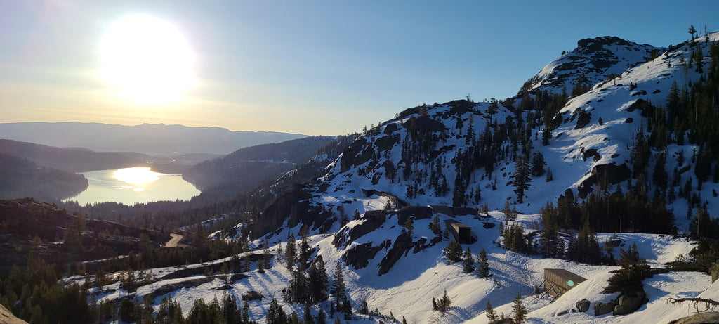 Donner Peak overlooking Donner Lake, still good coverage and skiing on North aspects