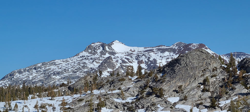 The South Face of Dicks Peak from south of Aloha Lake in Desolation Wilderness, Lake Tahoe California.