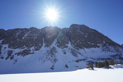 Mount Morgan northwest couloir, showing the couloir and the apron in California's Eastern Sierra.