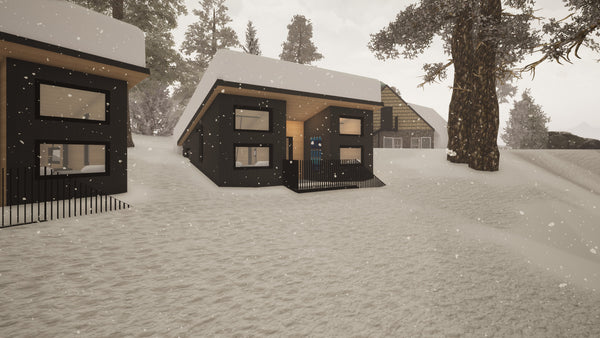A rendering of the Frog Lake Huts under snow.  The huts have been designed specifically for backcountry skiing and riding.
