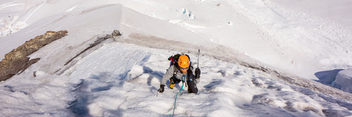 A climber being guided during an alpine climb of Mount Baker's North Ridge