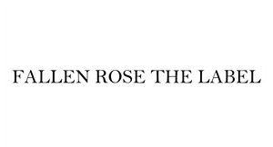 white rectangle, black bold font, fallen rose the label