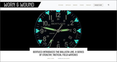"WORN & WOUND review of ""THE BALLISTA LINE, A SERIES OF STEALTHY, TACTICAL FIELD WATCHES"""