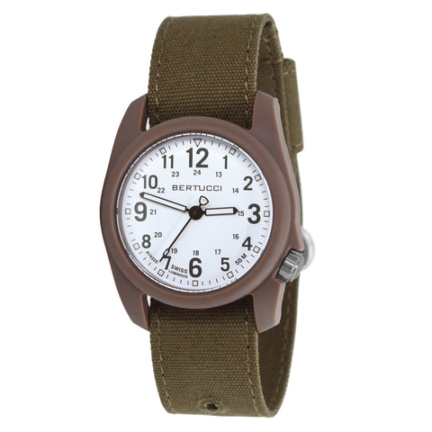 #11087 DX3® Canvas™ - White w/ Ombra Brown™ Dial, Bark Comfort Canvas™ Band