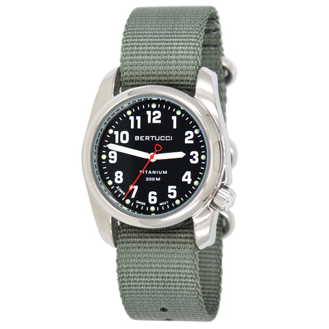 #12042 A-2T HIGHPOLISH - Onyx Black™ Dial, Defender Drab HP Nylon Band + Free Band & Shipping